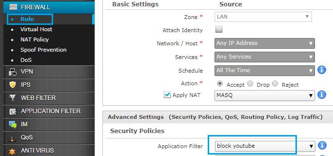 How To Block YouTube In Cyberoam Firewall