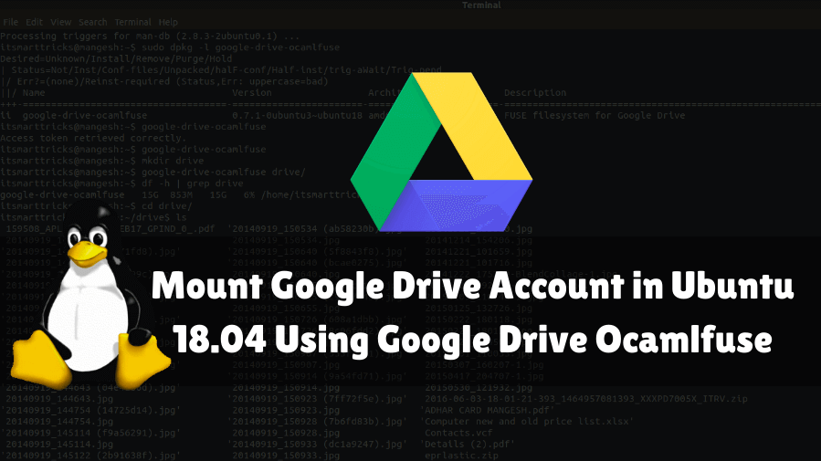 How to Mount Google Drive Account in Ubuntu 18 04 Using